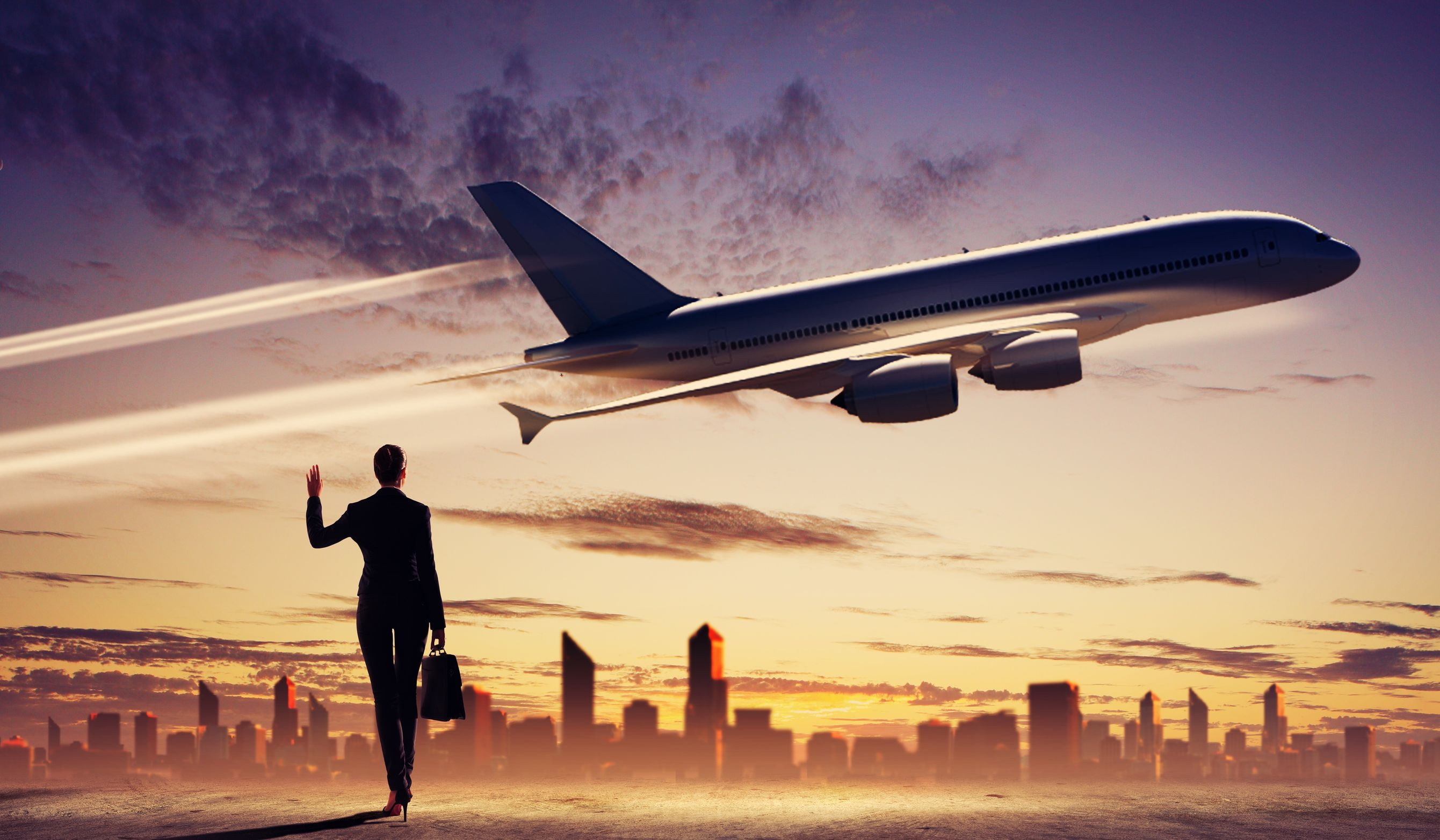 18747161 - image of business woman holding suitcase looking at airplane in sky