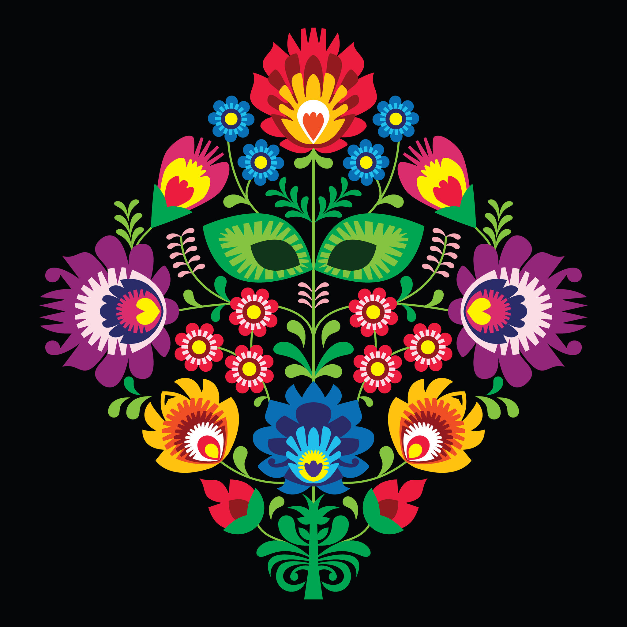 24947597 - folk embroidery with flowers - traditional polish pattern on black background