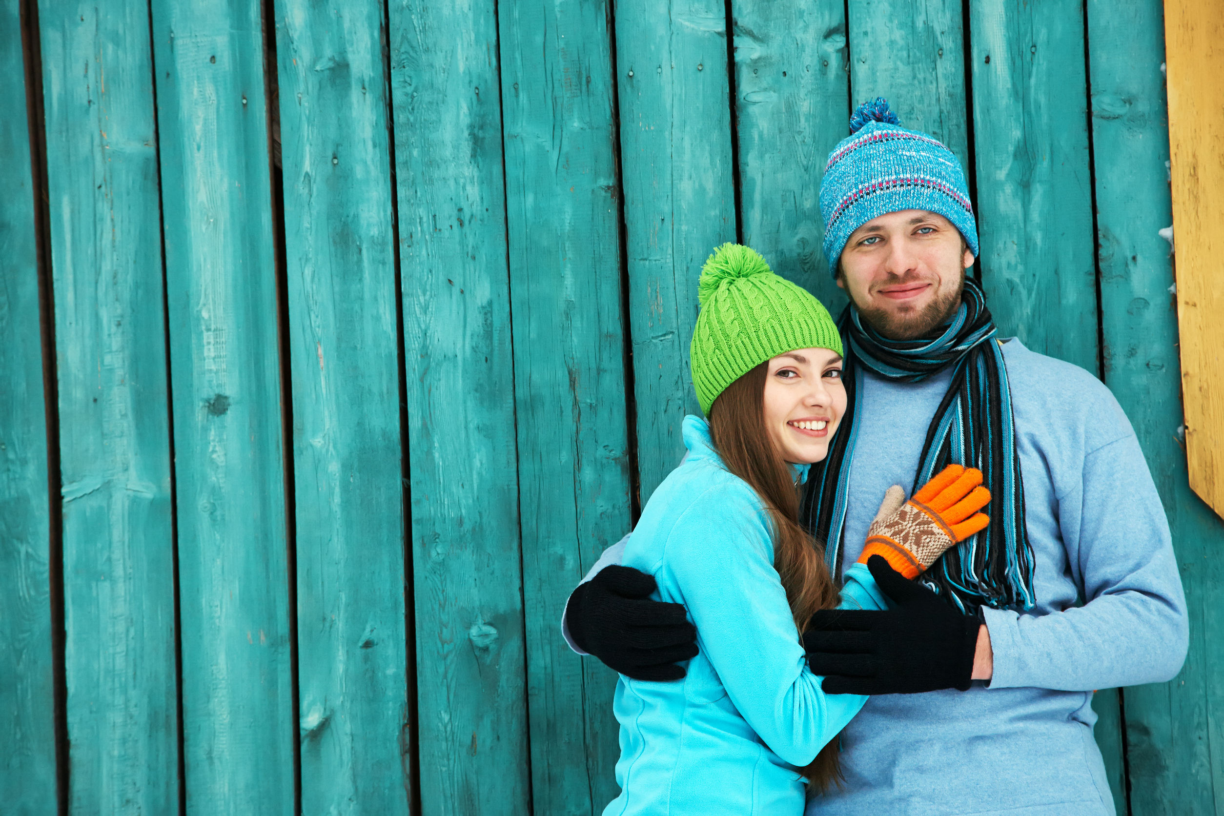 47218905 - young happy couple in love outdoors in the winter