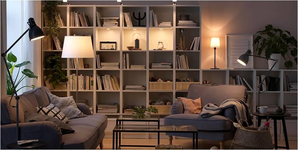 aranżacja domowej biblioteki w salonie