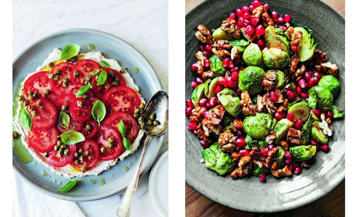 Od lewej: Pomidory z bazylią i słonecznikową niby-fetą, Pieczona brukselka z orzechami w syropie klonowym (Fot. Sarah Britton)