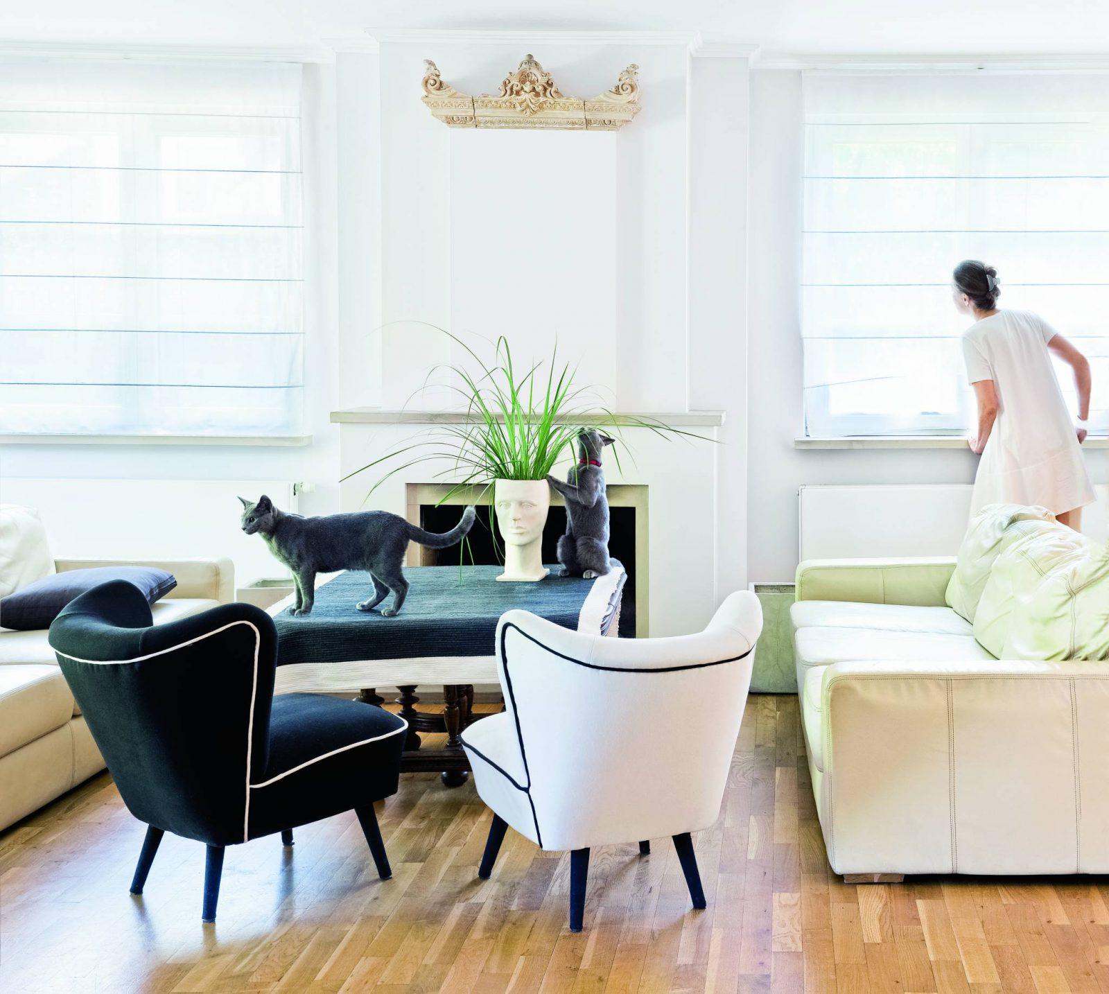 W domu artystki króluje biel i rządzą koty rosyjskie niebieskie. (Fot. Jakub Pajewski; Stylizacja: Basia Dereń-Marzec)