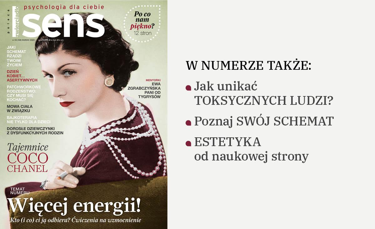 """Marcowe wydanie miesięcznika """"Sens"""". Na okładce Coco Chanel"""