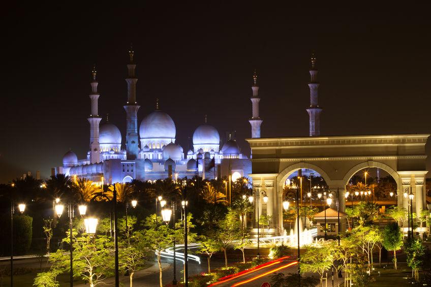 Abu Dhabi Sheikh Zayed Meczet w nocy