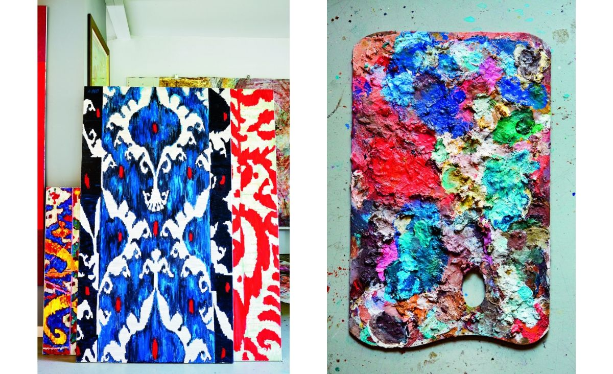 """Od lewej: Obrazy """"Ornament"""" i Botah z papryczką""""; Paleta malarska Olgi Wolniak (Fot. Celestyna Król)"""
