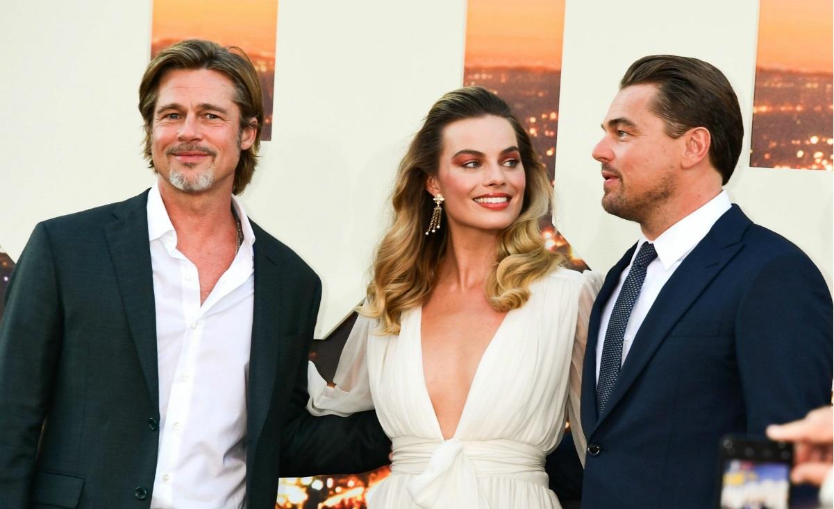 """Brad Pitt, Margot Robbie i Leonardo dicaprio na światowej premierze Once Upon a Time in Hollywood w Los Angeles"""" fot. BEW"""