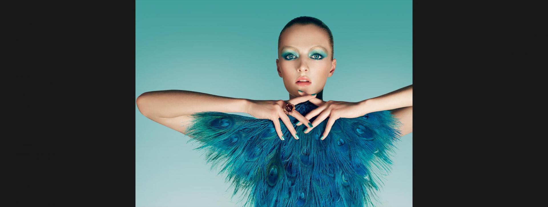 Makijaż w stylu rajskiego ptaka od Diora