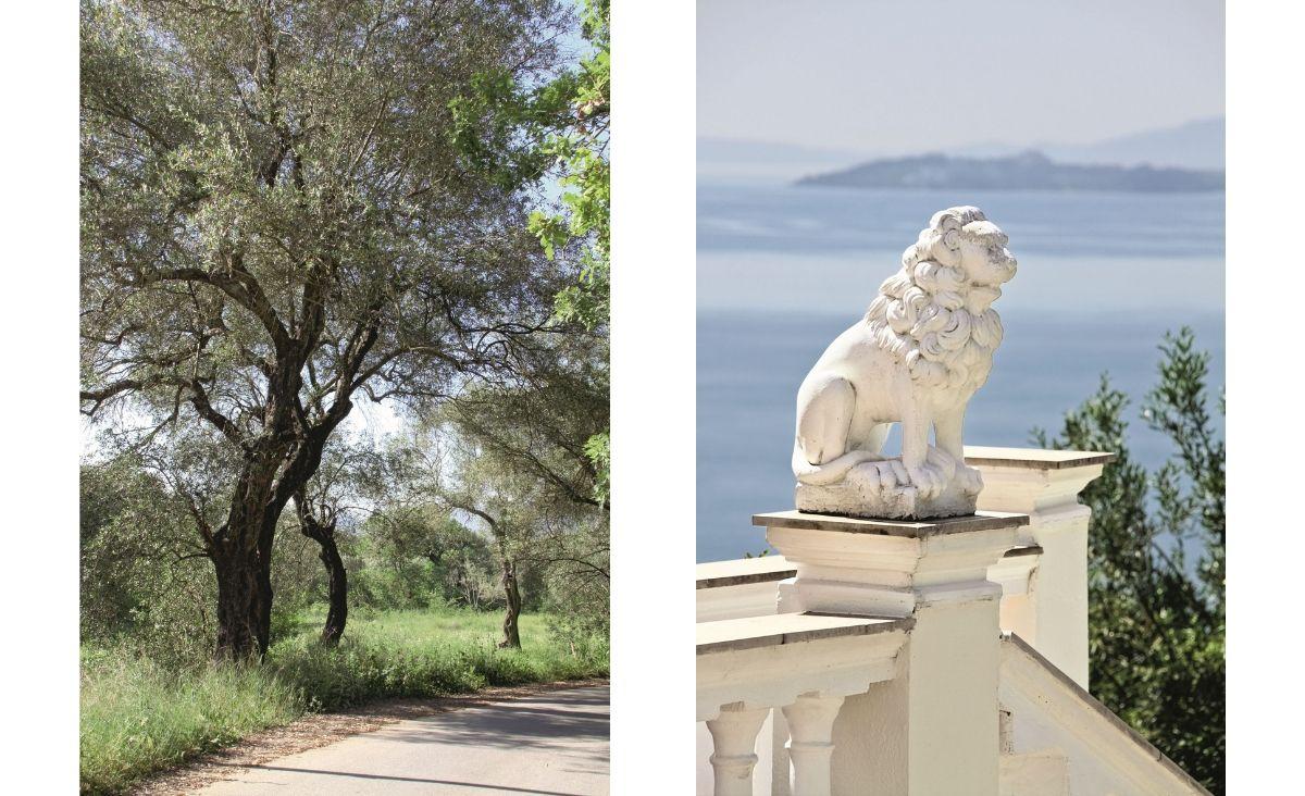 Od lewej: Korfu porastają drzewa oliwne; Chińska rzeźba, która trafiła na wyspę pod koniec XIX wieku. (Fot. Getyy Images)