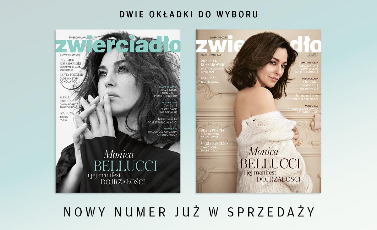 """Monica Bellucci na okładce marcowego wydania """"Zwierciadła"""" - już w sprzedaży"""