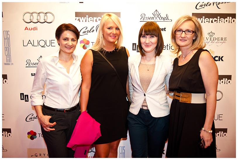 Gala Kryształowe Zwierciadła 2012, (od lewej) Monika Gołębiowska (Oceanic), Maja Hansson (Pandora), Justyna Rogalińska (Oceanic), Agnieszka Szlaska (Zwierciadło)