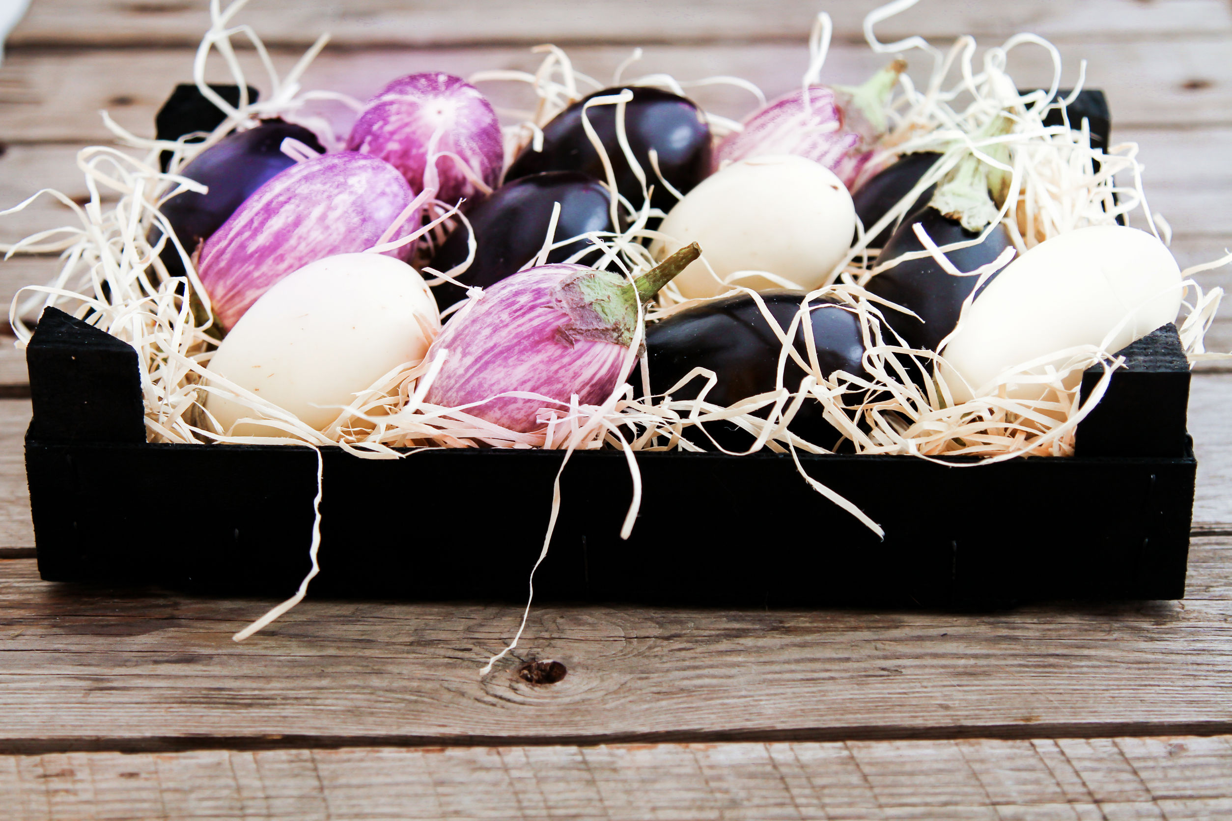 58177772 - fresh eggplants of different color on dark wooden background.