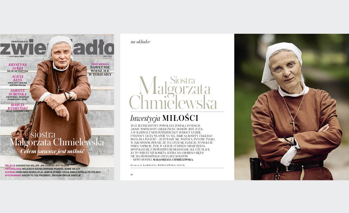Siostra Małgorzata Chmielewska na okładce lipcowego Zwierciadła