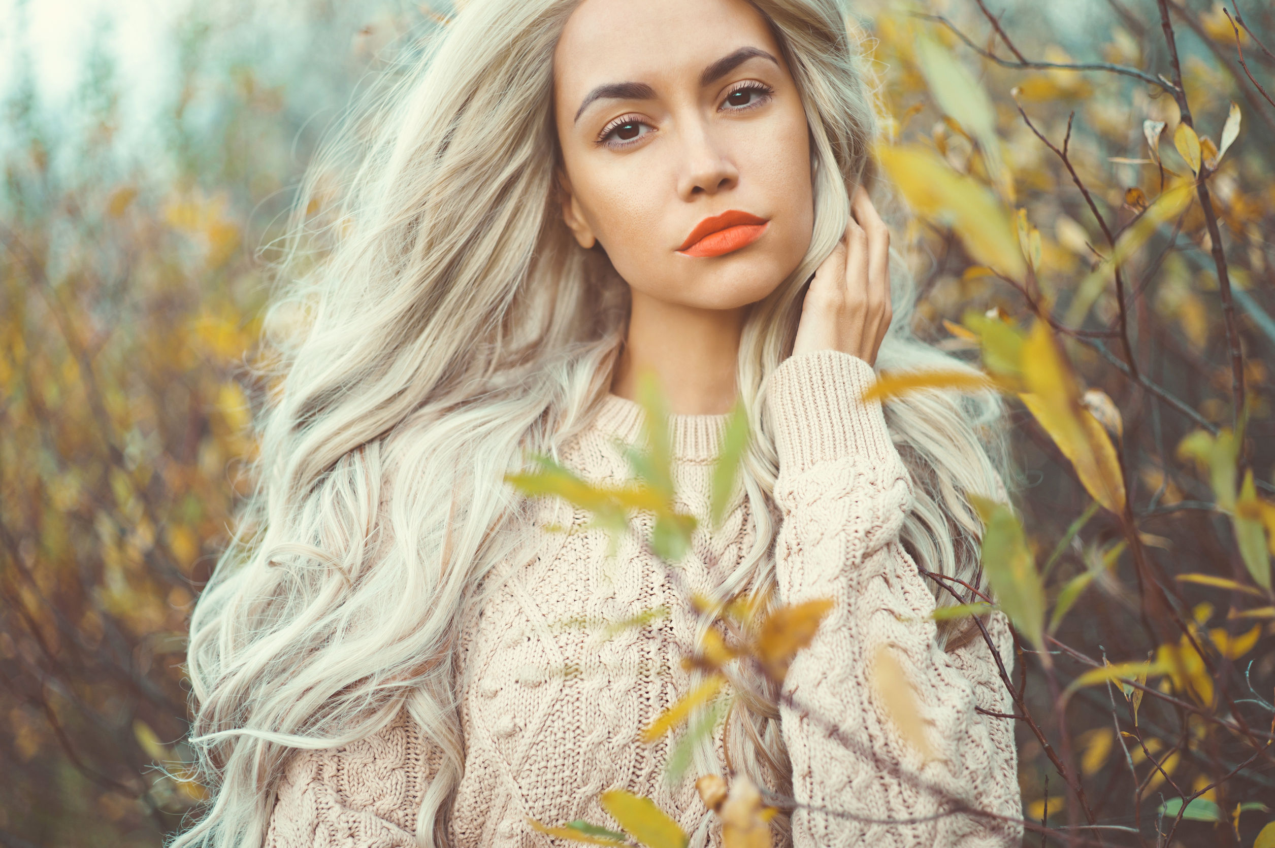 54293964 - outdoor fashion photo of young beautiful lady surrounded autumn leaves