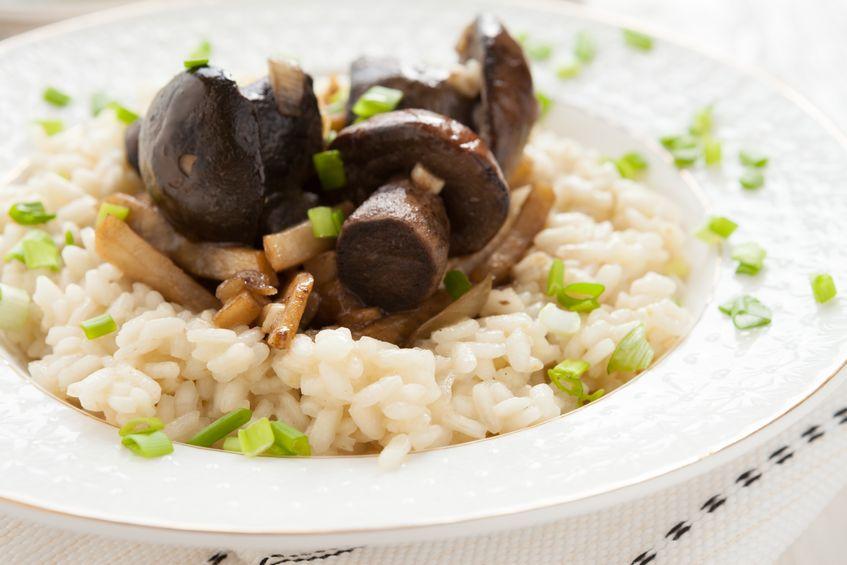 18298912 - arborio rice with mushrooms and parsnip, closeup