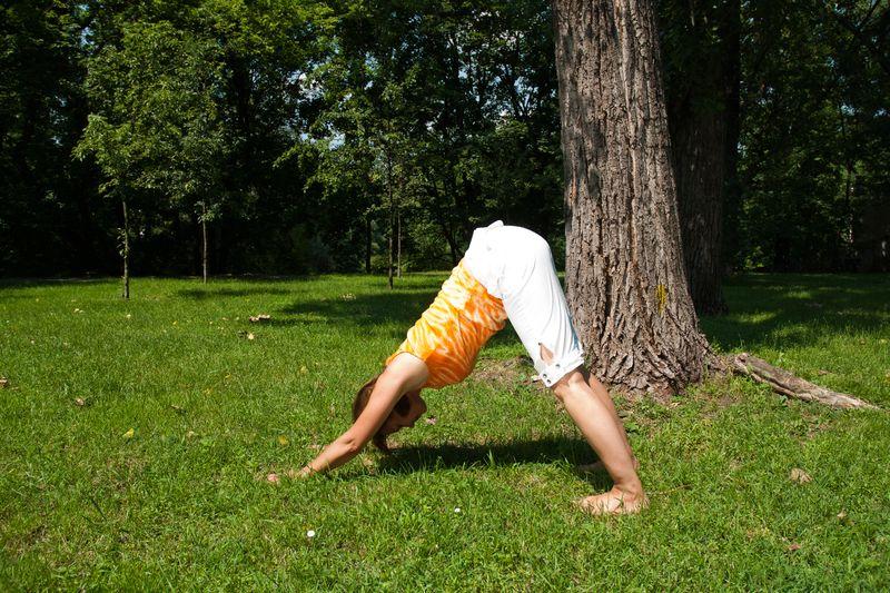 Joga na trawie – ćwiczenie numer 3: pozycja psa patrzącego w dół