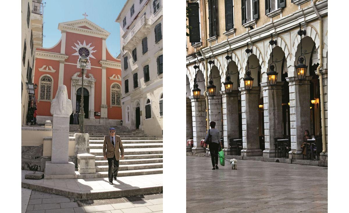 Od lewej: Muzeum Bizantyjskie w odnowionym kościele Panagia Antivouniotissa, w stolicy wyspy; Elegancka, promenada Liston wzorowana na paryskiej rue de Rivoli. (Fot. Getty Images)