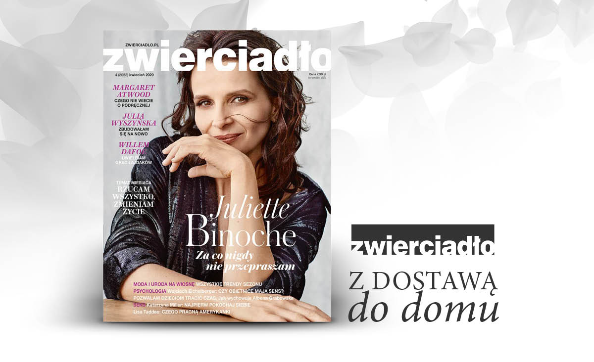 """Kwietniowe wydanie miesięcznika """"Zwierciadło"""" z Juliette Binoche na okładce"""