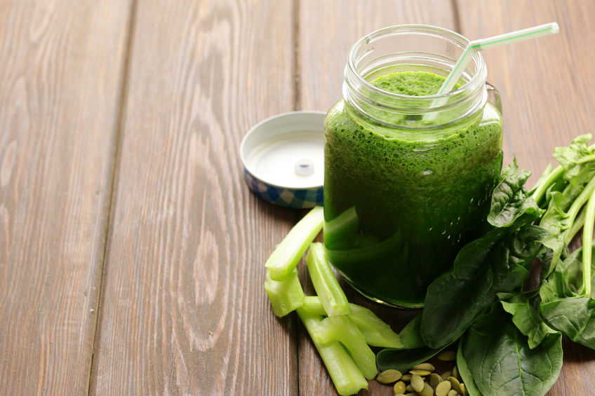 51745108 - beverage with spinach, celery and pumpkin seeds, detox and healthy food