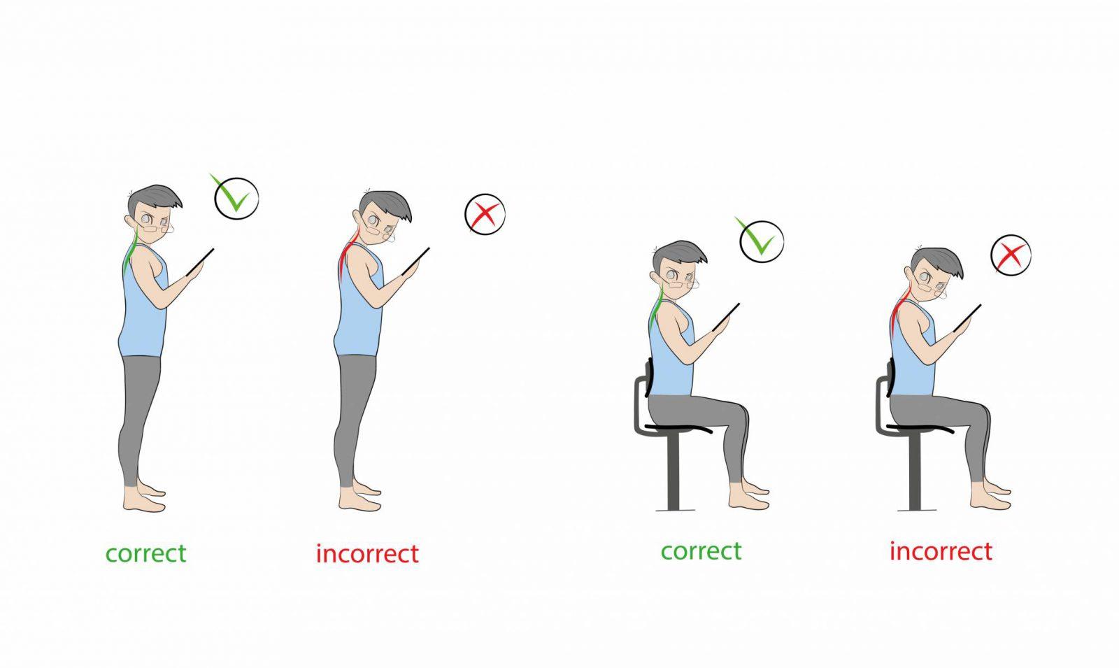 Nieustanne kontrolowanie właściwej postawy może być trudne, znacznie łatwiejsze i zdrowsze będzie ograniczenie czasu spędzonego z komórką. (Fot. iStock)