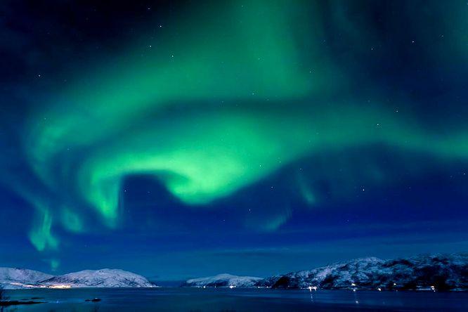 Zorza polarna widziana nad całą Norwegią