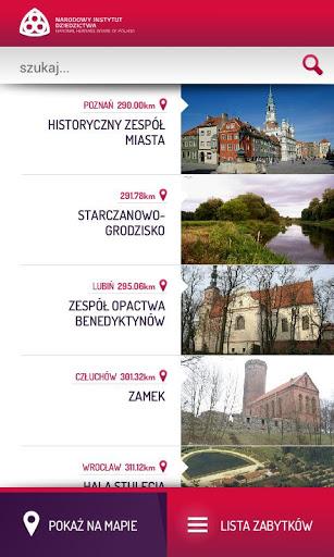 Zabytki w Polsce, aplikacja mobilna