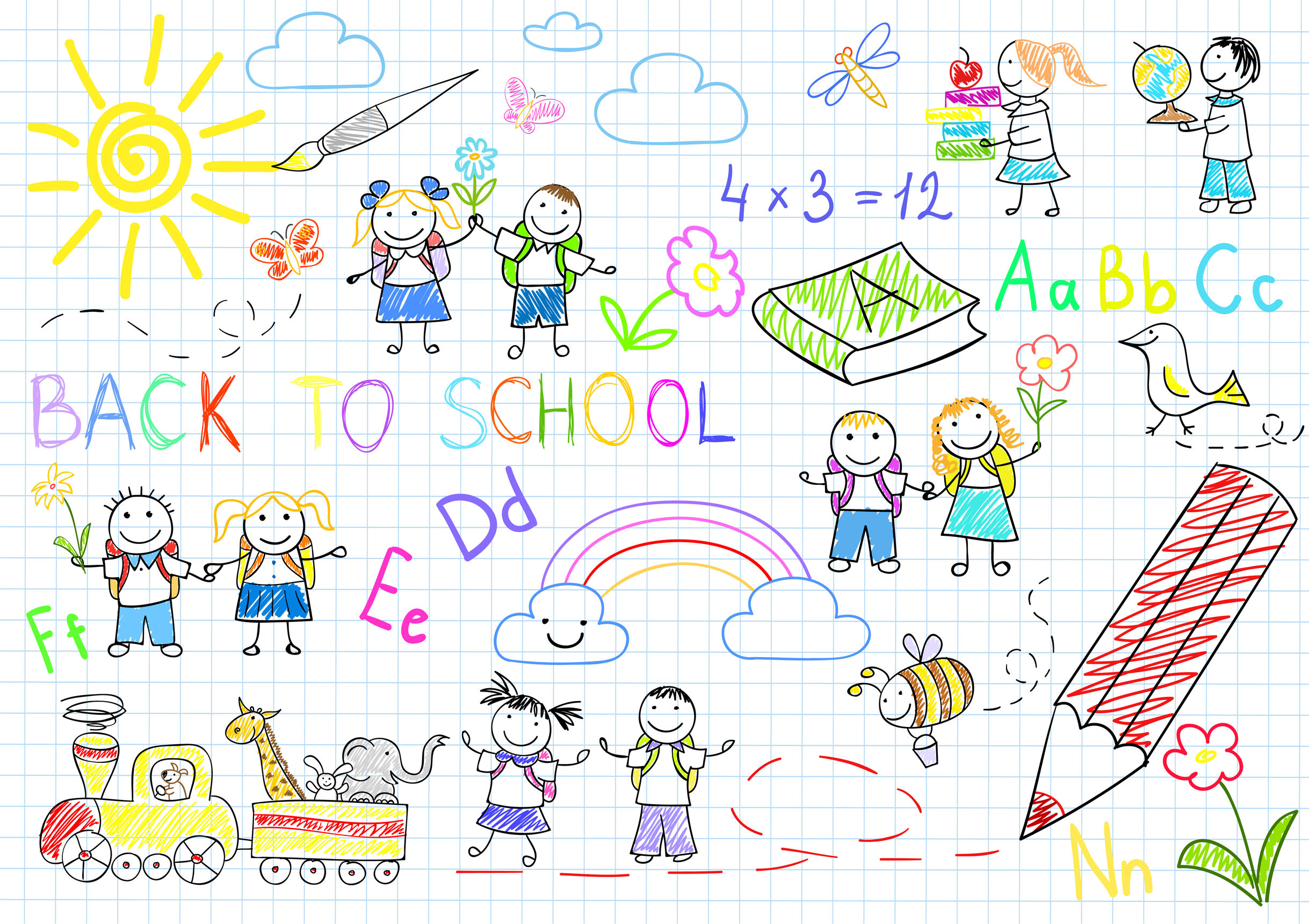 30466477 - back to school. sketches with happy pupils. sketch on notebook page