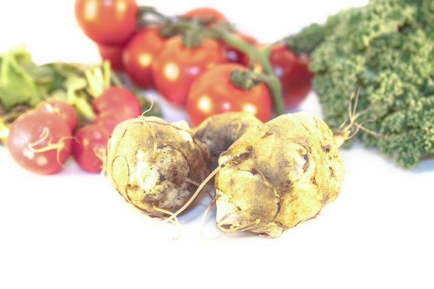 Jesienne warzywa z pieczonymi boczniakami i piure z topinamburu