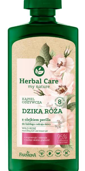 Płyn do kąpieli Herbal Care dzika róża z olejkiem perilla, 500 ml/14,99 zł.
