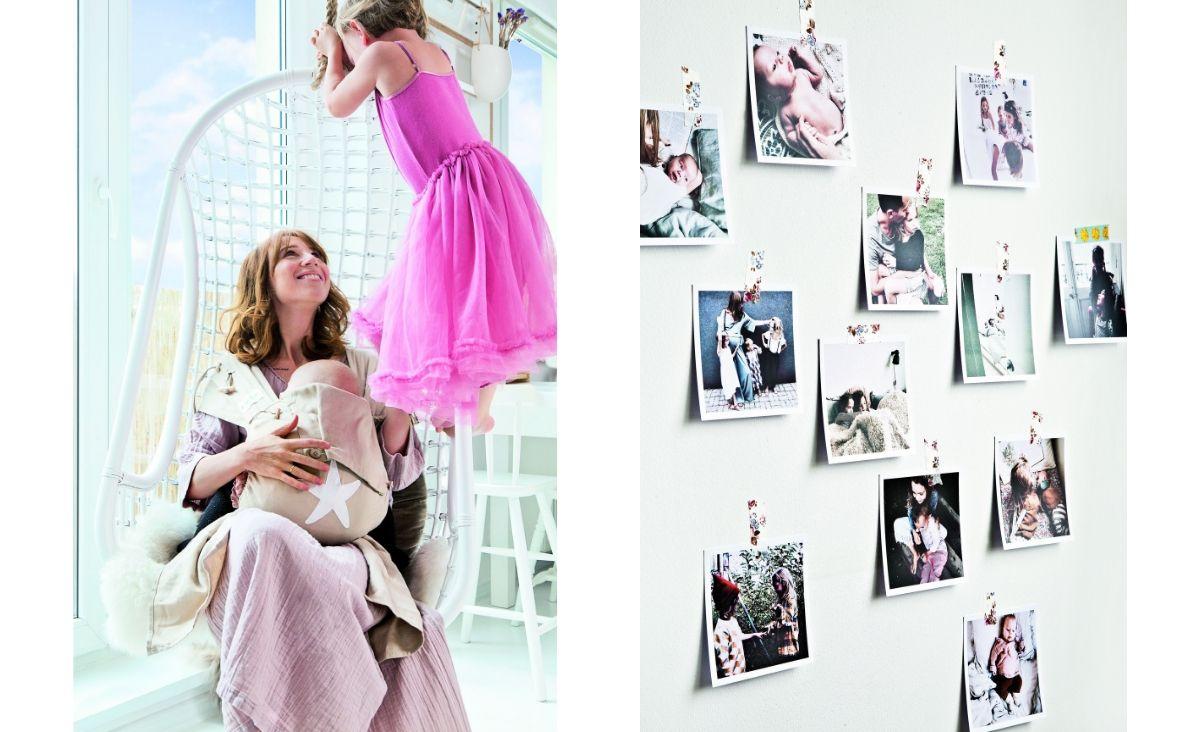 Monika kocha swoja pracę, ale córki są najważniejsze; Zdjęcia to oczywisty w tym domu element dekoracyjny (Fot. materiały Westwing)