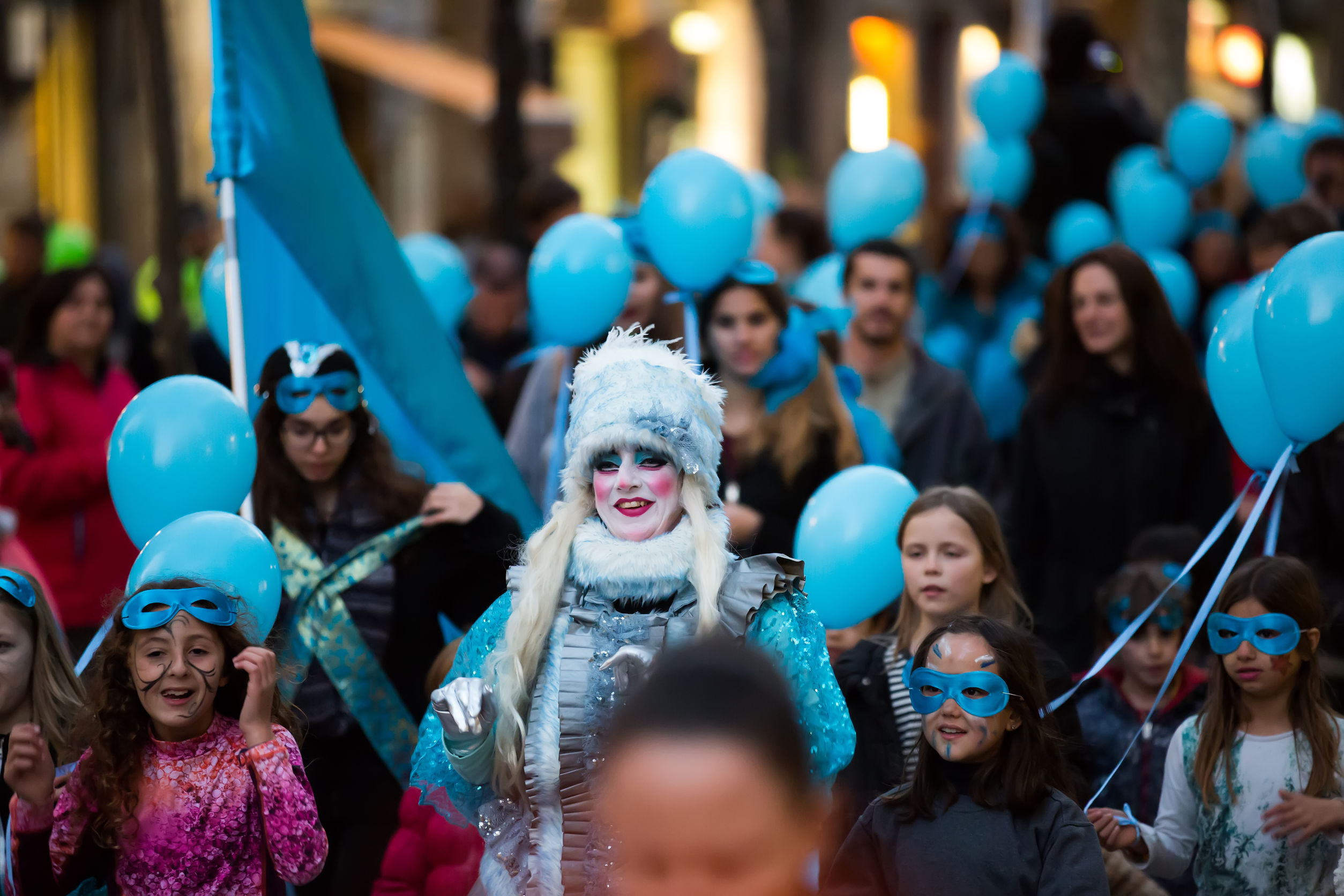 53868917 - barcelona, spain - february 4, 2016:  spanish carnaval at barcelona in evening time.  catalonia, spain
