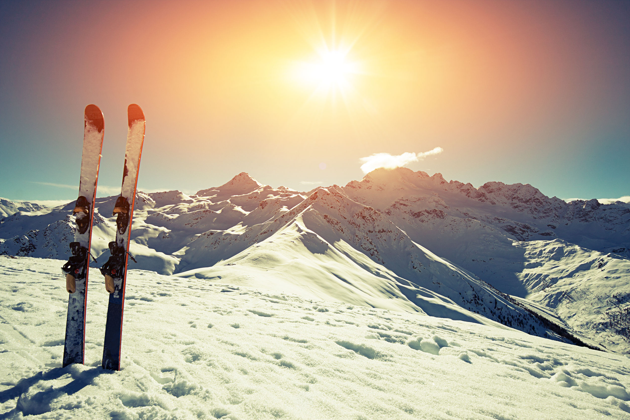 39476868 - skis in snow at mountains