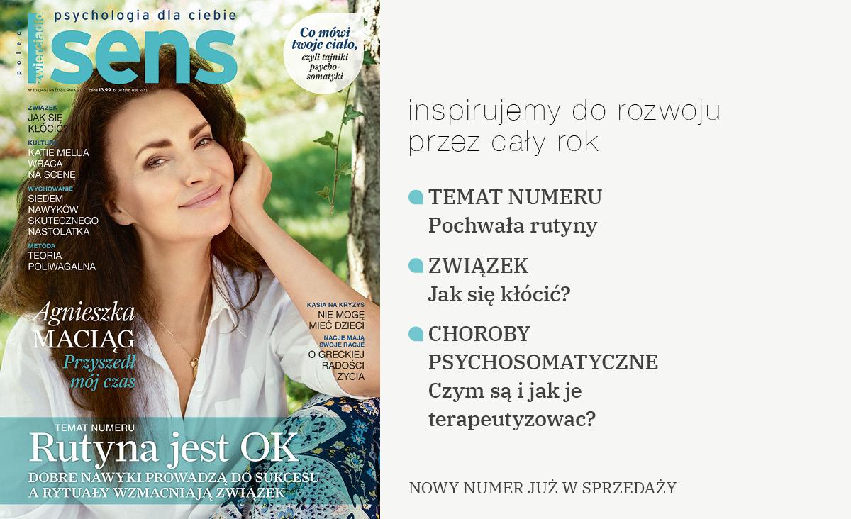 """Październikowy """"Sens"""" już w sprzedaży. Na okładce Agnieszka Maciąg"""
