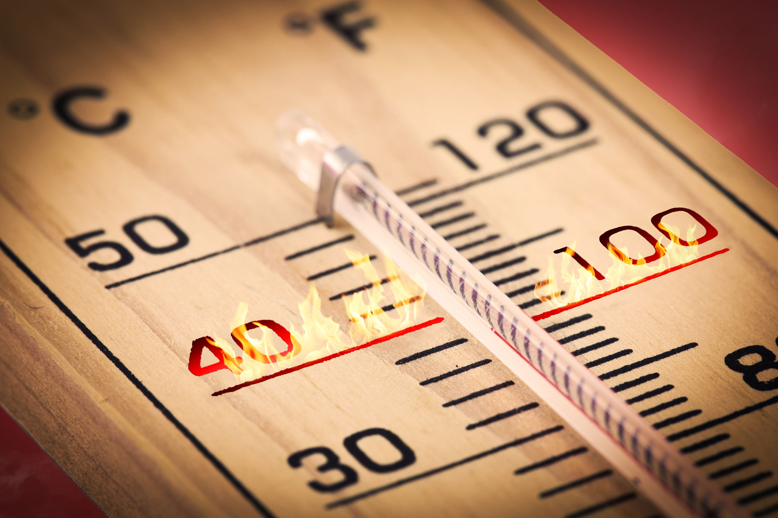 41632707 - close-up hot temperature fahrenheit or celsius.