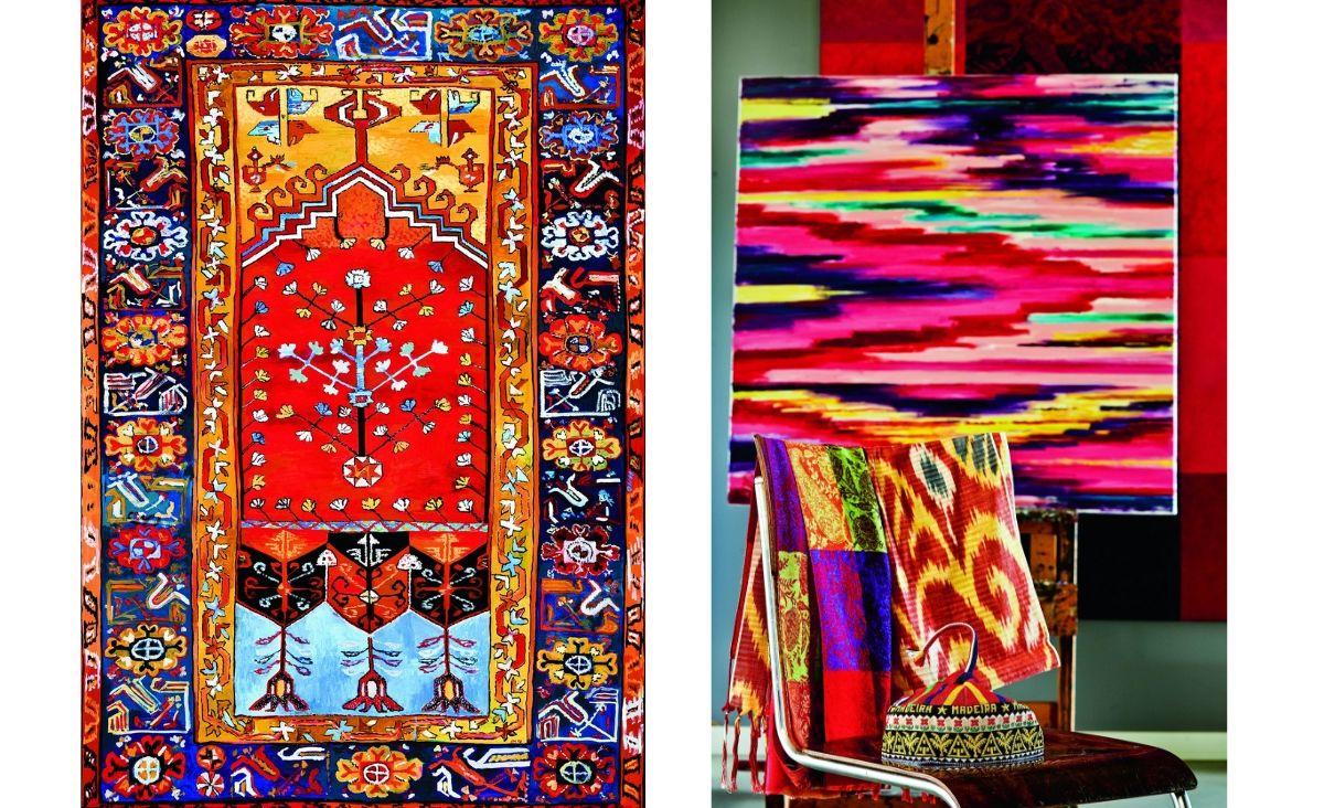 """Od lewej: obraz """"Konya-Ladik"""", który można oglądać na wystawie """"Sztuka to wartość""""; Na sztaludze """"Jedwabny szklak"""" (Fot. Celestyna Król)"""