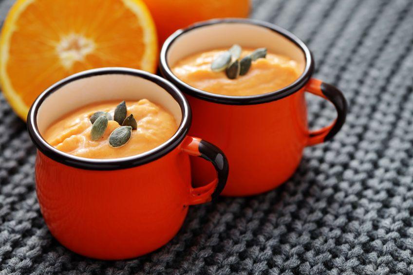 Zupa krem dyniowo - kokosowa z filecikami z pomarańczy