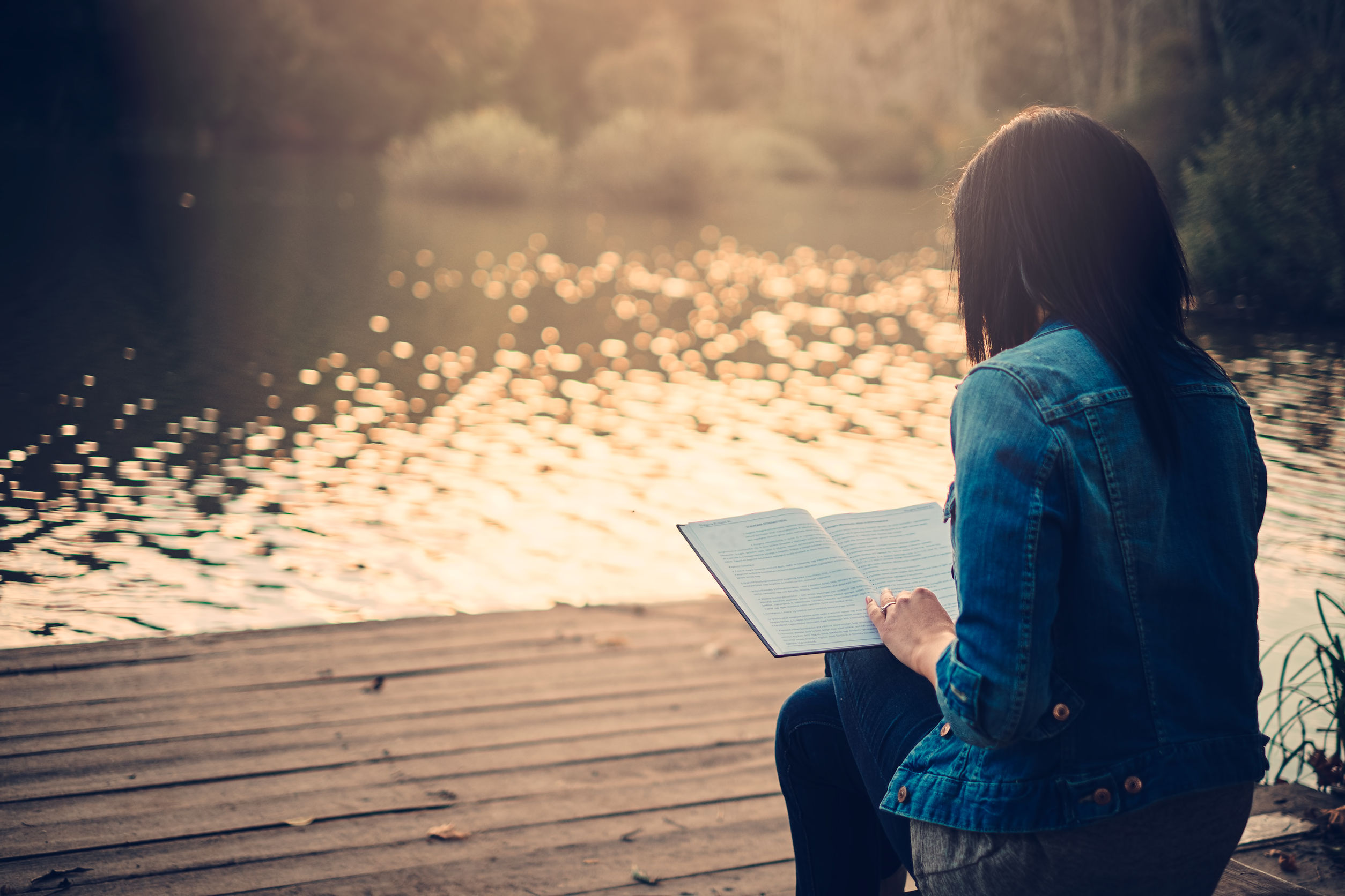 35433747 - girl reading on a pier